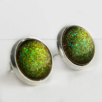 Zombie Post Earrings in Silver - Olive Moss Green Glitter Stud Earrings