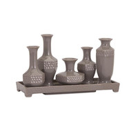 Beth Kushnick Gray Ceramic Mini Vases with Tray