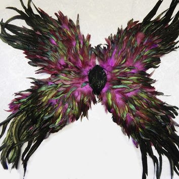"Purple Raven Feather Fairy Wings  HUGE 40"" by 40"""
