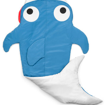 Twinklette Quilted Shark Blanket (Ages 3 - 12) Sleeping Bag Sack Nap Mat with Pocket & Fleece Lining