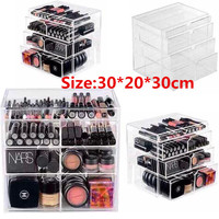 New Anti-Scratch Clear Acrylic Cosmetic Jewelry Makeup Organizer Box Case 4 Storage Drawer Cases Holder Make Up Storager Boxes