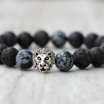 african bracelet beaded men bracelet black lava rock stone friend gift husband birthday lion metal hipster accessory for him trendy jewelry
