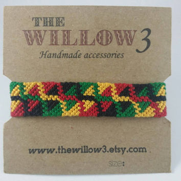 Rasta Jamaican Colors Handmade Friendship Bracelet - 16 Strands