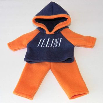 """bitty baby clothes, boy or 15"""" twin doll, navy blue and orange, University of Illinois fan, hoodie pants, handmade by adorabledolldesigns"""