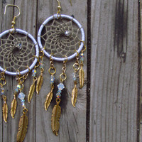 1 1/2 in. White and Gold Dreamcatcher Earring