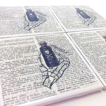 Ceramic Tile Coasters - Skeleton Hand Holding Poison Bottle - Set of 4 - Upcycled Dictionary Page Book Art Home Decor Steampunk Goth Pirate