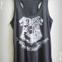 Women/Teen Tank top Dark grey size S,M,L witch Harry Potter Hogwarts Alumni Women tank top crew neck women t shirts