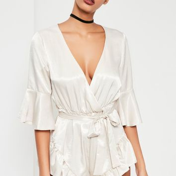 Missguided - White Silky Flutter Short Detail Playsuit