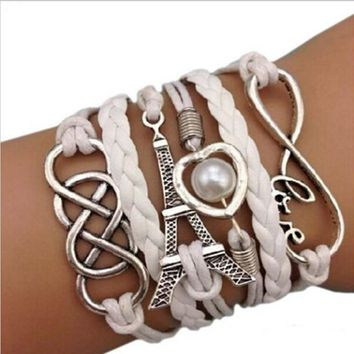 Silver Plated Eiffel Tower pendant Leather Chain Infinity Charm Bracelet