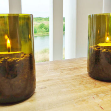 Upcycled Wine Bottle Candle Holders made from Recycled Wine Bottles Set of 2 for Restaurant or Wedding Party Large Quantities Available