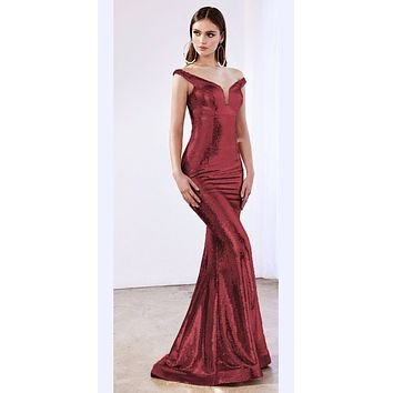 Long Off The Shoulder Fitted Sequins Dress Burgundy Deep Plunge Neckline