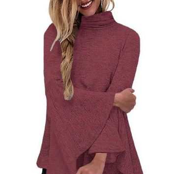 Burgundy Flared Bell Sleeve Knit Blouse