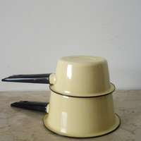 Set of Two Yellow Enamelware Saucepots