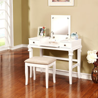 Linon Angela White Vanity Set