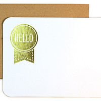"Die Cut ""Hello"" Notes, Gold, Set of 24, Cards"