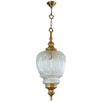 Art Deco Large Art Glass and Gilt Bronze Lantern Chandelier, circa 1920