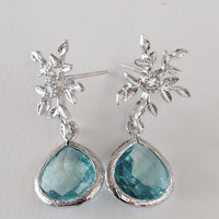 Elsa Luxe Earrings: Silver Snowflake / Branch Posts with Crystal Accent and Bright Ice Blue And Silver Bezel Teardrops