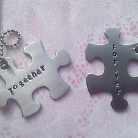 Personalized Hand Stamped Together Forever Puzzle Piece Necklace Set - Stainless Steel