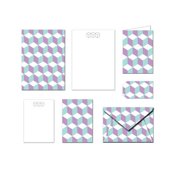 Printable Stationery Set - 3D Retro Cubes - Notes / Card / Gift Tag / Envelope