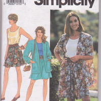 Sewing pattern for loose fitting shorts, tank top and unlined jacket misses size petite small medium 6 8 10 12 14 16 Simplicity 7677 UNCUT