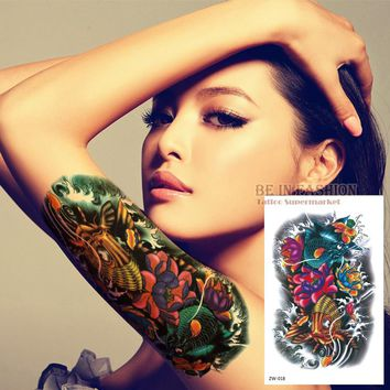 Color Fish Tattoo Stickers Flower Arm Tattoos Waterproof Temporary Tatoo fake for women Men shoulder Body big 19*12cm ZW018