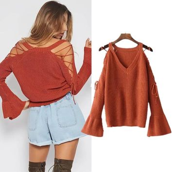 Knit Tops Women's Fashion Winter Strapless Sweater [31068586010]