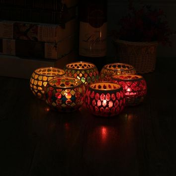 European Style Crystal Carved Glass Candle Tealight Holder