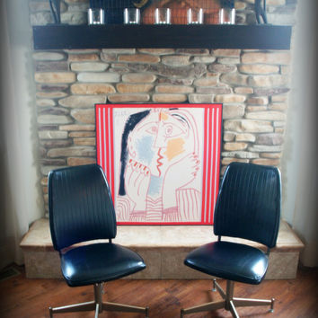1960's VINTAGE CHAIRS / Cool Black Faux Leather / Retro Chromcraft Pair of Chairs / Mid Century Modern Furniture / Office / Dining / Swivel