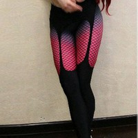 Loopholes Net Yarn High Elasticity Sports Slim Long Pants