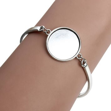 5pcs/lot Silver Plated Round Blank Cabochon Base Setting Bezel Tray Bangle Fit 20mm DIY Cabochons Jewelry Making Findings F3765