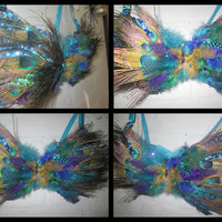 36C Peacock Feather Festival Rave Bra