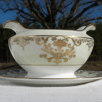 Ivory and Gold Gravy Boat by F B & Co Meito China, Goldwyn Pattern, Rose Pattern Gravy Boat, Gold Rose Gravy Boat, Elegant Gravy Boat