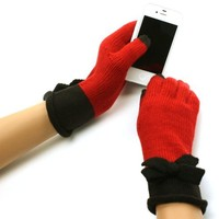 Ladies Winter 2 Tone Bows Knit Magic Touch Screen Thumb Index Gloves Red Black
