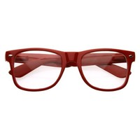 zeroUV - Standard Retro Clear Lens Nerd Geek Assorted Color Horn Rimmed Glasses (Red)