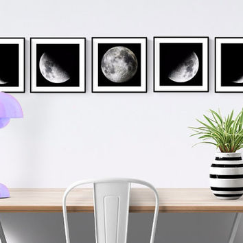 Moon Phase Prints 5 Piece Set, Moon Phases Wall Art