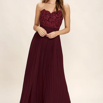 Special Day Burgundy Lace Strapless Maxi Dress