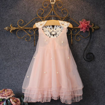 Kids Baby Girls Party Dress Lace Tulle Flower Gown Formal Dress Sundress 2-7Y