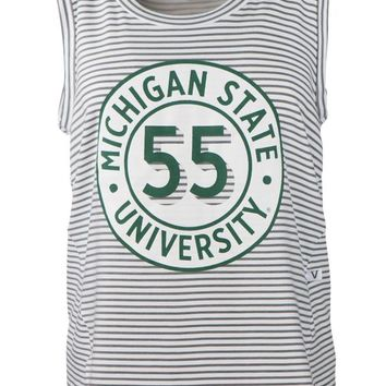 Official NCAA Michigan State University Spartans MSU Sparty Women's Stripe Ath Leisure Tank Top