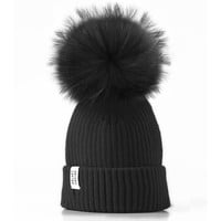 LUX FUR POM BEANIE BLACK ON BLACK