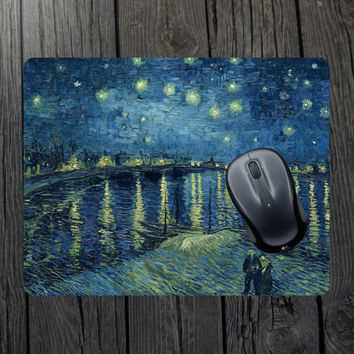 Starry Night Over The Rhone Mouse Pad Van Gogh mouse pad Starry Night mouse pad Starry night fabric Starry night decal Starry night print