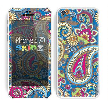The Suble Blue & Yellow Paisley Pattern Skin for the Apple iPhone 5c