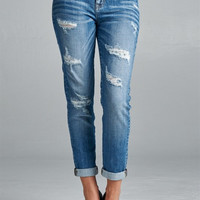 Light Wash Boyfriend Distressed Jeans