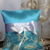 Hand painted Satin blue ring bearer pillow white swarovski butterfly personalized wedding favor