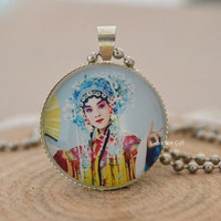 Beijing Opera Opera necklace, Costumes of Chinese Opera necklace,female role in Chinese opera Cabochon pendant necklace (N18)