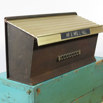 Vintage Mailbox . Metal Wall Mount . Mid Century Modern Circa 1950s . Gold Anodized Aluminum Lid