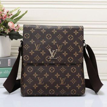 LV Louis Vuitton Women Men Office Bag Buckle Zipper Leather Satchel Shoulder Bag Crossbody I