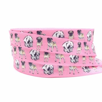 """Good Quality Pet Dogs Print Fold Over Elastic Hot Sale 5/8"""" Pink FOE Elastic Ribbon for DIY Headwear Hair Accessories 10 Yards"""