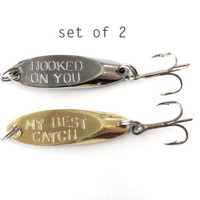 set of two fishing lures - hooked on you, my best catch, mens gift groom gift