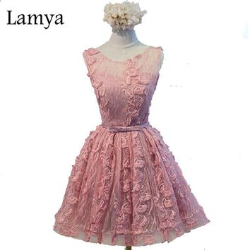 Lamya Elegant Bow Pink Evening Bridesmaid Dress Knot Sashes Sweetheart Lace Up Back Flowers Appliques Lovely Ball Gown