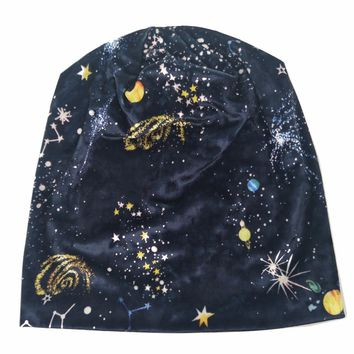 B178185 fashion new navy&green arrive warm velvet hats,Universe Constellation printed stars skullcap for women beauty beanie